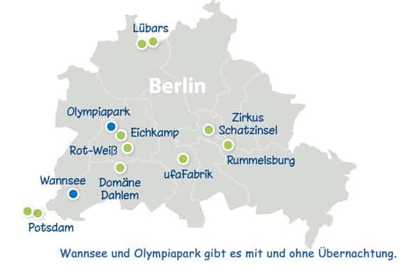 Landkarte Berlin mit allen SpachCamps und DayCamps