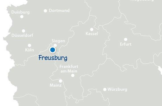 Landkarte mit den SprachCamps in Rheinland-Pfalz